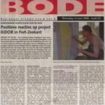 Positieve reacties op project Kidor in Fort-Zeekant - 14 juni 2006 in Bode